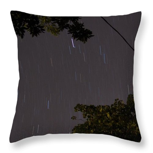 Long Exposure Throw Pillow featuring the photograph 10 Min Exp Starry Night by Lori Amway