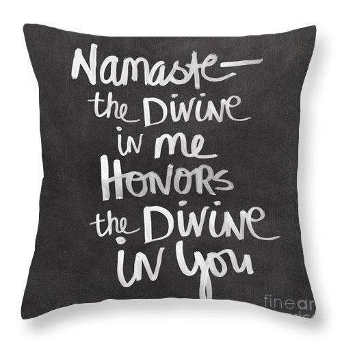Namaste Throw Pillow featuring the painting Namaste by Linda Woods
