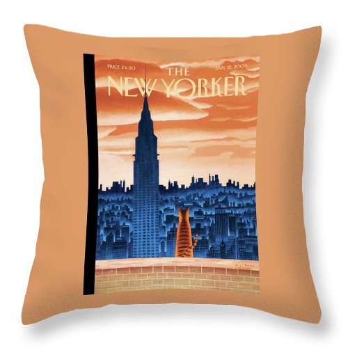 Nyc Throw Pillow featuring the painting New Yorker January 12th, 2009 by Mark Ulriksen
