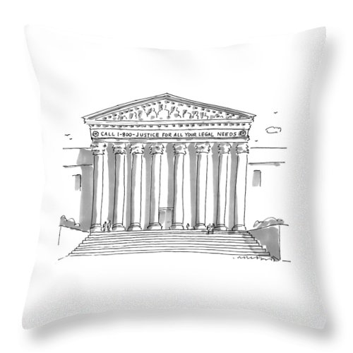 Call 1-800-justice For All Your Legal Needs Throw Pillow featuring the drawing Captionless by Michael Crawford