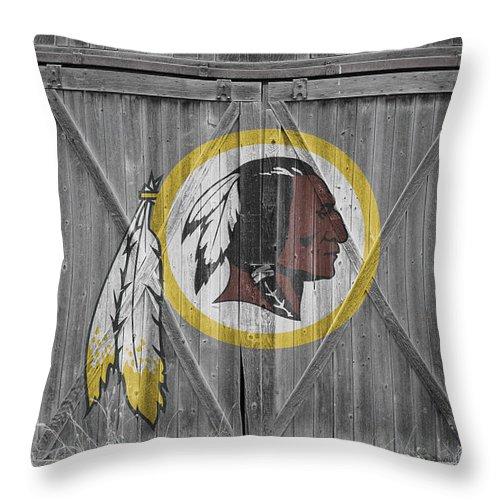 Redskins Throw Pillow featuring the photograph Washington Redskins by Joe Hamilton