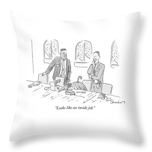 Christmas Throw Pillow featuring the drawing Looks Like An Inside Job by Danny Shanahan