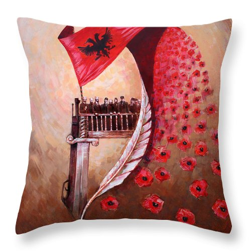 100th Anniversary Throw Pillow featuring the painting 100 Vjetori I Pavaresis Se Shqiperise by Ylli Haruni
