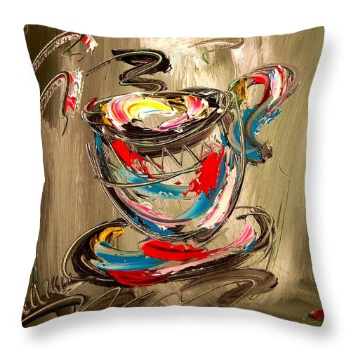Throw Pillow featuring the painting Coffee by Mark Kazav