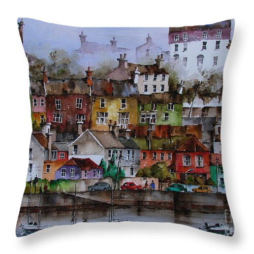 Val Byrne Throw Pillow featuring the painting 107 Windows Of Kinsale Co Cork by Val Byrne