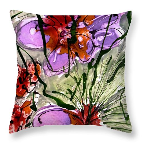 Flowers Throw Pillow featuring the painting Heavenly Flowers by Baljit Chadha