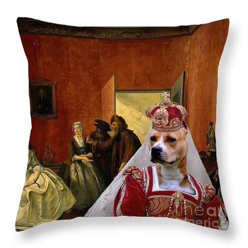 American Staffordshire Terrier Throw Pillow featuring the painting American Staffordshire Terrier Art Canvas Print by Sandra Sij