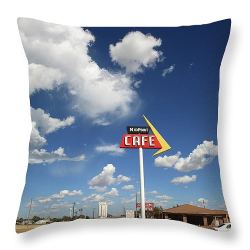 66 Throw Pillow featuring the photograph Route 66 Cafe by Frank Romeo