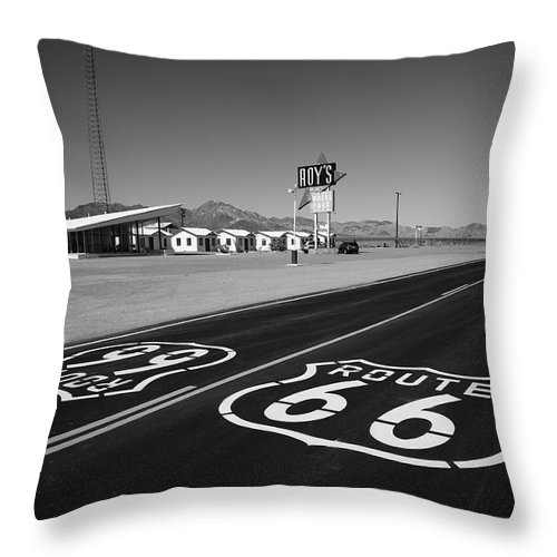66 Throw Pillow featuring the photograph Route 66 Shield by Frank Romeo