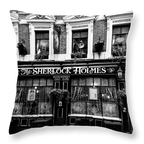 Sherlock Holmes Throw Pillow featuring the photograph The Sherlock Holmes Pub by David Pyatt