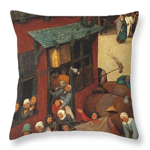 Allegory Throw Pillow featuring the painting The Fight Between Carnival And Lent by Pieter the Elder Bruegel