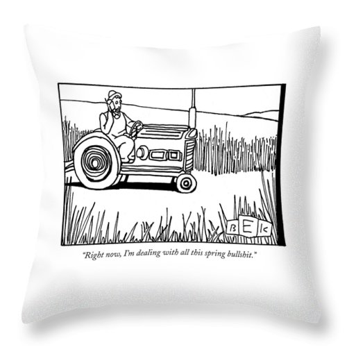 Spring Throw Pillow featuring the drawing Right Now, I'm Dealing With All This Spring by Bruce Eric Kaplan