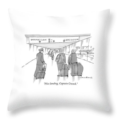 Airports Throw Pillow featuring the drawing Nice Landing by Michael Crawford