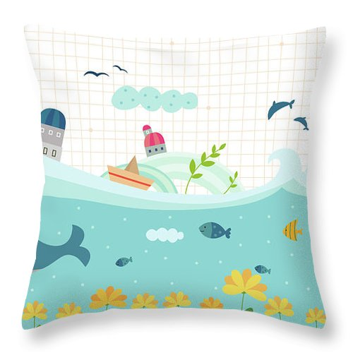 Seaweed Throw Pillow featuring the digital art View Of Town by Eastnine Inc.