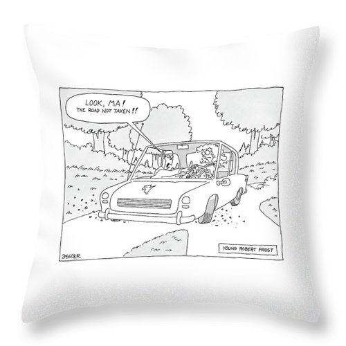 Autos Writers Word Play Books Poetry  (boy Grabs Steering Wheel Of Car And Says Throw Pillow featuring the drawing Young Robert Frost by Jack Ziegler