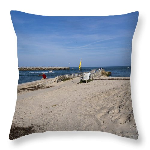 Florida Throw Pillow featuring the photograph Fishing At Sebastian Inlet In Florida by Allan Hughes