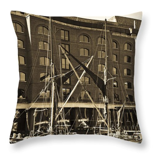 River Thames Throw Pillow featuring the photograph St Katherine's Dock London by David Pyatt