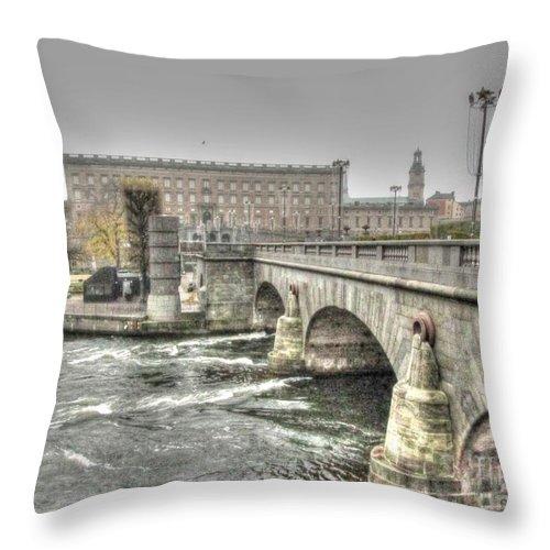 Stokholm Swiss Throw Pillow featuring the pyrography Stokholm Swiss by Yury Bashkin