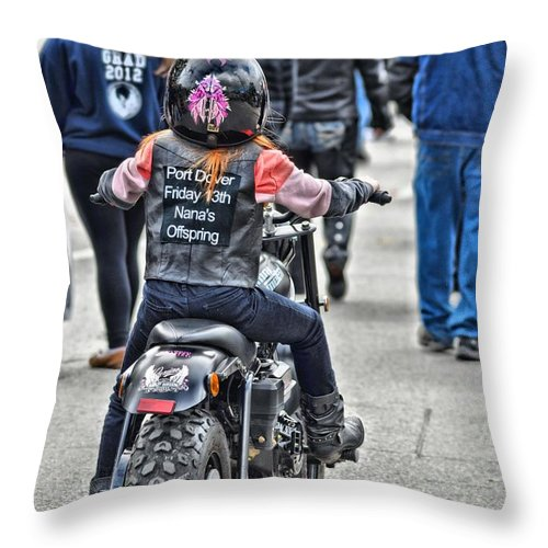 Biker Throw Pillow featuring the photograph Tracybphotography by Tracy Bennett