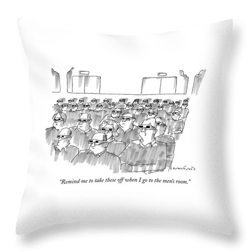 Senility Throw Pillow featuring the drawing Remind Me To Take These Off When I Go by Michael Crawford