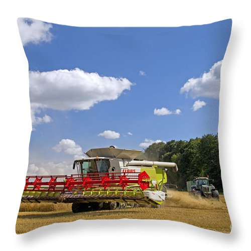 Combine Harvester Throw Pillow featuring the photograph 130201p023 by Arterra Picture Library