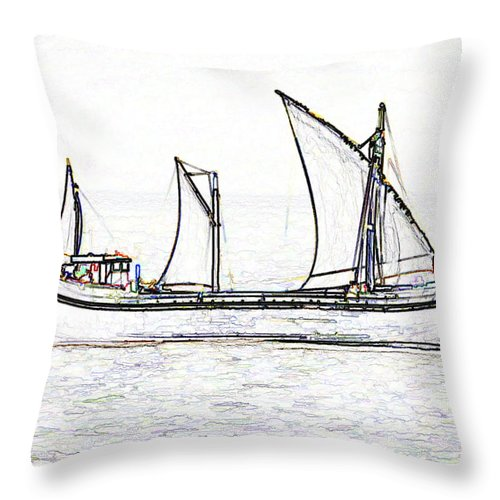 Action Throw Pillow featuring the digital art Fishing Vessel In The Arabian Sea by Ashish Agarwal