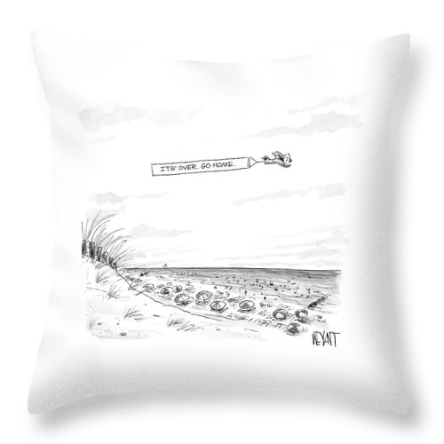 Seasons Summer Seashore  (plane Flying Over Crowded Beach With Message That Reads Throw Pillow featuring the drawing New Yorker September 12th, 2005 by Christopher Weyant