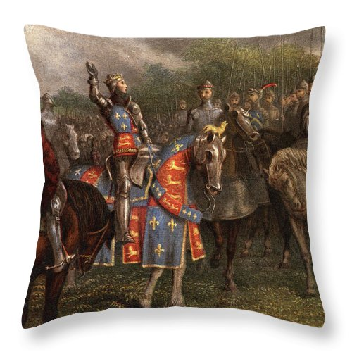 Vertical Throw Pillow featuring the painting 1400s Henry V Of England Speaking by Vintage Images