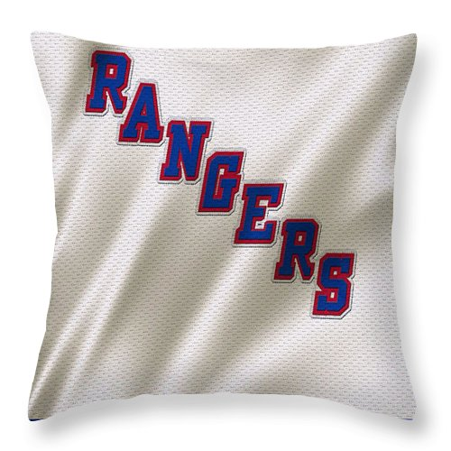 Rangers Throw Pillow featuring the photograph New York Rangers by Joe Hamilton
