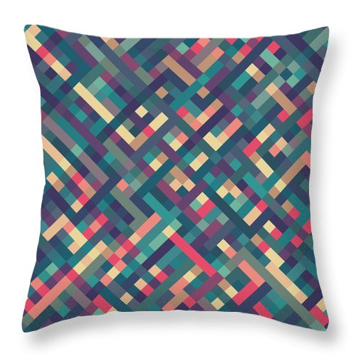 Abstract Throw Pillow featuring the digital art Pixel Art by Mike Taylor