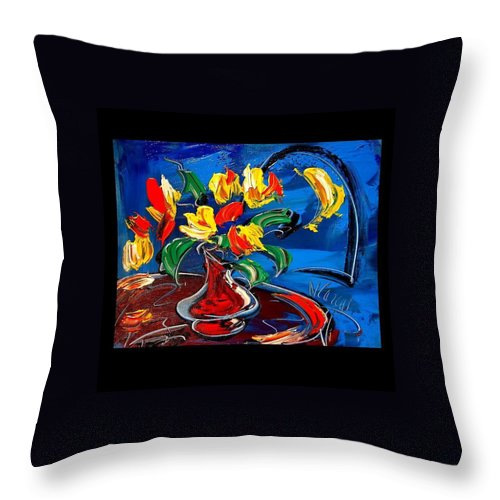 Throw Pillow featuring the painting Flowers by Mark Kazav