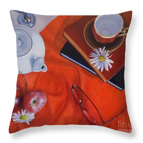 Teapot Throw Pillow featuring the painting 1530 Time For Tea by Diana Marshall