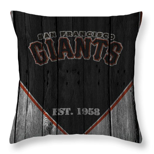 Giants Throw Pillow featuring the photograph San Francisco Giants by Joe Hamilton