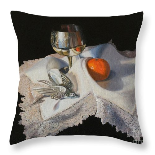 Still Life Throw Pillow featuring the painting  Flying Away by Diana Marshall