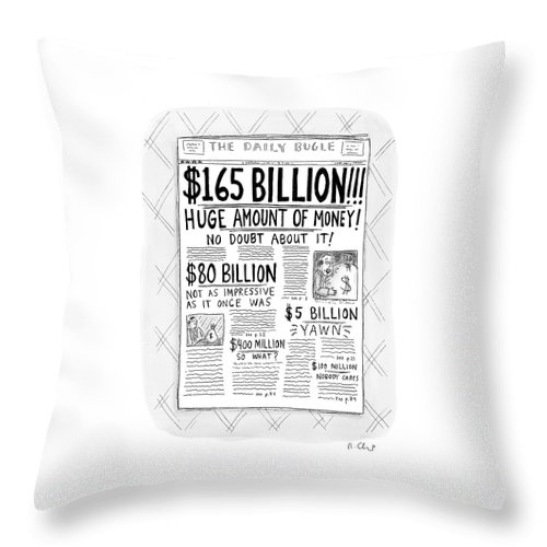 Newspapers Throw Pillow featuring the drawing New Yorker April 24th, 2000 by Roz Chast