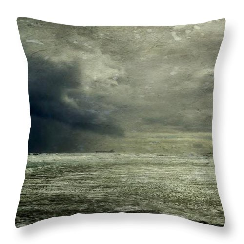 Seascape; Stormy Weather; Atlantic Ocean; Dark Clouds; Rain; Wind; Beach; Milnerton; Cape Town; South Africa; Cargo Ship; Sand; Sunlight; White; Blue; Sky; Waves; Horizon; Texture; Throw Pillow featuring the photograph Stormy Weather by Werner Lehmann