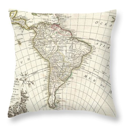 A Beautiful Example Of Jan Janvier's 1762 Decorative Map Of South America. Covers From The Island Of Hispaniola And The Yucatan South To Tierra Del Fuego And Cape Horn Throw Pillow featuring the photograph 1762 Janvier Map Of South America by Paul Fearn