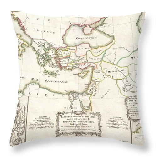 A Beautiful Example Of Rigobert Bonne's 1771 Decorative Map Of The Lands Of The Bible's New Testament. Covers From Italy Eastward To Include The Eastern Mediterranean Throw Pillow featuring the photograph 1771 Bonne Map Of The New Testament Lands Holy Land And Jerusalem by Paul Fearn