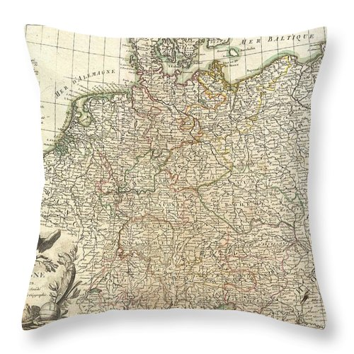 A Beautiful Example Of Rizzi-zannoni's Decorative Map Of Germany. Covers From Jutland To The Gulf Of Venice And From England To Poland.. Offers Excellent Detail Throughout Showing Mountains Throw Pillow featuring the photograph 1771 Rizzi Zannoni Map Of Germany And Poland by Paul Fearn