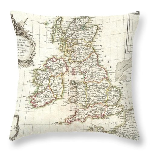 A Beautiful Example Of Janvier's 1771 Decorative Map Of The British Isles. Includes All Of England Throw Pillow featuring the photograph 1771 Zannoni Map Of The British Isles by Paul Fearn