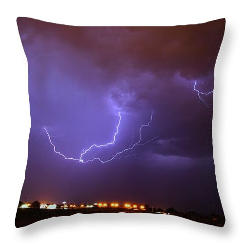 Stormscape Throw Pillow featuring the photograph Nebraska Cells Redevloping Over South Central Nebraska by NebraskaSC