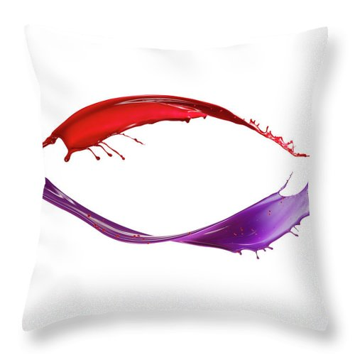 White Background Throw Pillow featuring the photograph Splashing Of The Color Paint by Level1studio