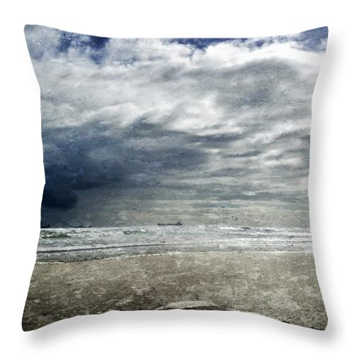 Seascape; Stormy Weather; Atlantic Ocean; Dark Clouds; Rain; Wind; Beach; Milnerton; Cape Town; South Africa; Cargo Ship; Sand; Sunlight; White; Blue; Sky; Waves; Horizon; Throw Pillow featuring the photograph Stormy Weather by Werner Lehmann