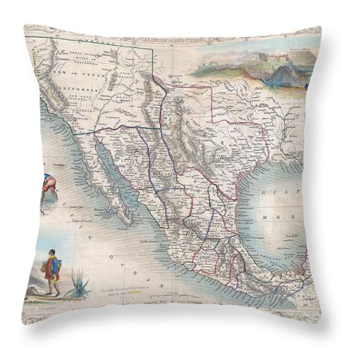 An Exceptional Example Of John Tallis And John Rapkin's Highly Desirable 1851 Map Of Mexico Throw Pillow featuring the photograph 1851 Tallis Map Of Mexico Texas And California by Paul Fearn