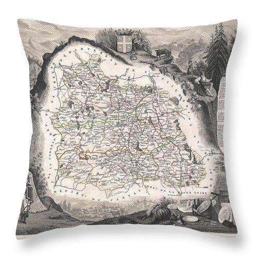 1852 Levasseur Map Of The Department Du Puy De Dome Throw Pillow featuring the photograph 1852 Levasseur Map Of The Department Du Puy De Dome France by Paul Fearn