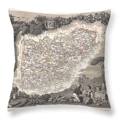 1852 Levasseur Map Of The Department Du Var Throw Pillow featuring the photograph 1852 Levasseur Map Of The Department Du Var France French Riviera by Paul Fearn