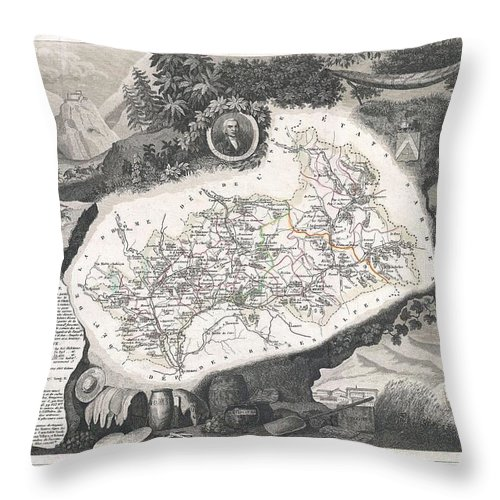 1852 Levasseur Map Of The Department Hautes Alpes Throw Pillow featuring the photograph 1852 Levasseur Map Of The Department Hautes Alpes France by Paul Fearn