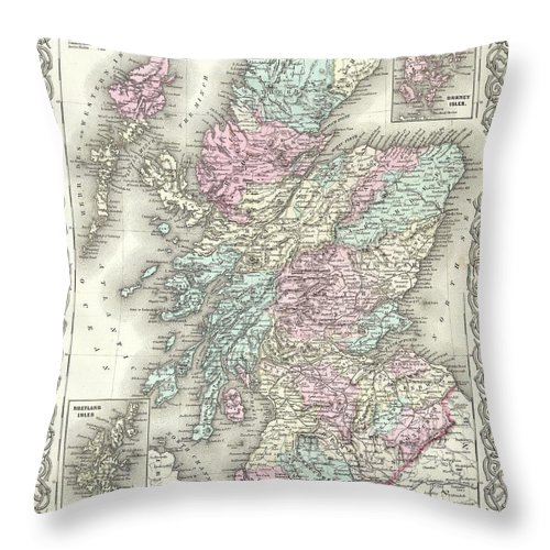 Throw Pillow featuring the photograph 1855 Colton Map Of Scotland by Paul Fearn