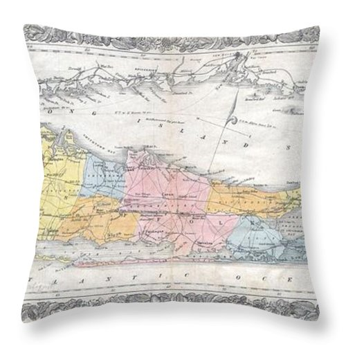 Throw Pillow featuring the photograph 1857 Colton Travellers Map Of Long Island New York by Paul Fearn