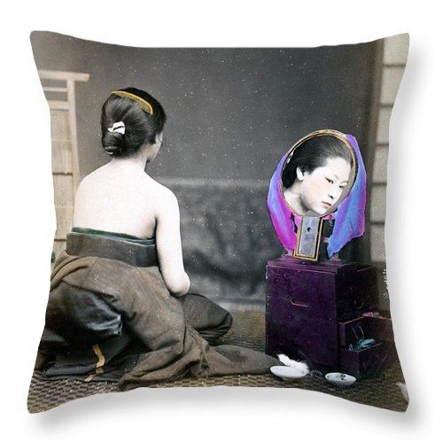 Japan Throw Pillow featuring the photograph 1870 Japanese Woman In Her Dressing Room by Historic Image